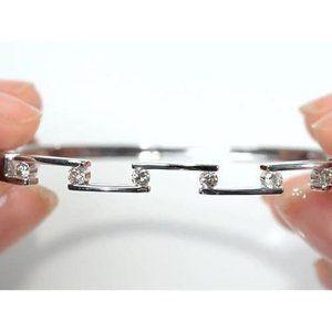 Ladies Diamond Bangle 1.80 Carats White Gold 14K J